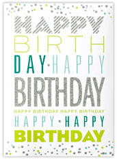 Glitter Birthday Greetings Card