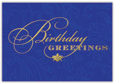 Bright Blue Birthday Greetings Card