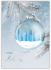 Blue City Ornament Christmas Card