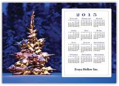 Lit Tree Calendar Postcard