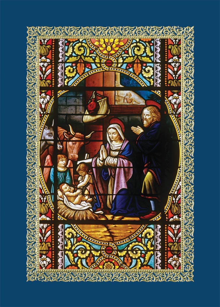 Nativity stained glass card business christmas cards