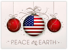 Patriotic Ornaments Trio Holiday Card