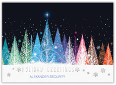 Colorful Treeline Christmas Card