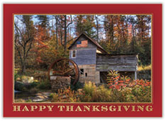 Patriotic Mill Scene Thanksgiving Card