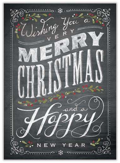 Chalkboard merry christmas celebrate the season from cardsdirect for Chalkboard christmas cards