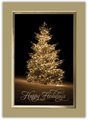 Golden Christmas Tree Card