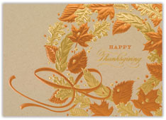 Copper Thanksgiving Wreath Card