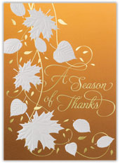 Shimmer Leaf Thanksgiving Card