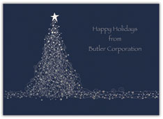 Blue Scribble Tree Holiday Card