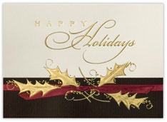 Gold Holly Happy Holiday Card