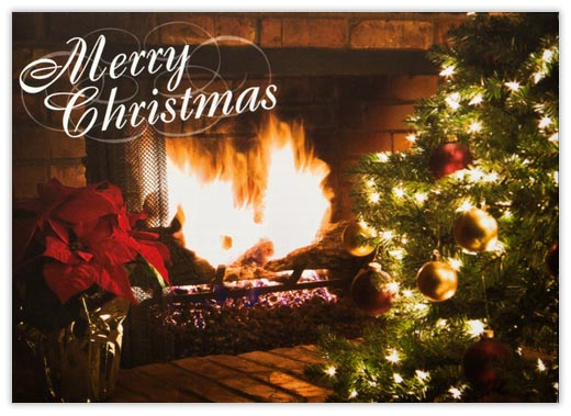 Glowing Fire - Christmas Cards from CardsDirect