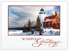 Holiday Lighthouse Christmas Card