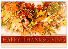 Autumn Leave Wreath Thanksgiving Card