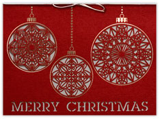 Laser Cut Ornament Trio Christmas Card