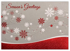 Red Foil Flurry Holiday Card