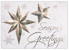 Irridescent Silver Snowflakes Holiday Card