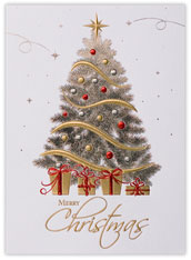 Tree of Silver & Gold Christmas Card