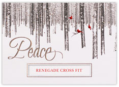 Peaceful Forest & Cardinals Die Cut Holiday Card