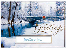 Winter Bridge Snow Scene Die Cut Holiday Card