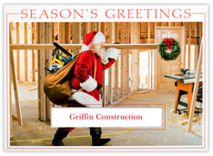 Construction Site Santa Holiday Card