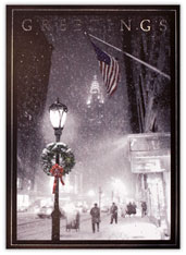 Patriotic NY City Scene Holiday Card