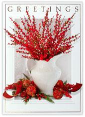 Vase of Berries Holiday Card
