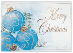 Blue Iridescent Ornaments Christmas Card