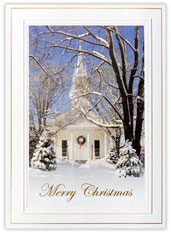 Church at Christmas Time Religious Card