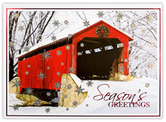 Red Covered Bridge Christmas Card