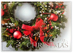 Red Bow Wreath Christmas Card