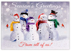 Frosty Snowman Wishes From All of Us Holiday Card