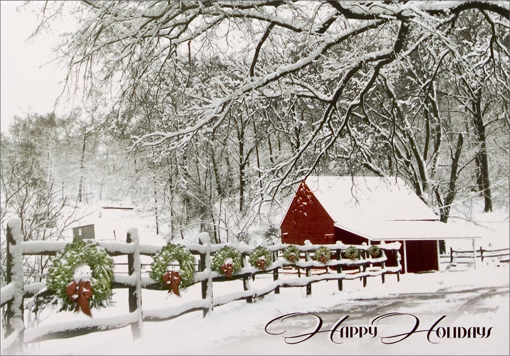 Cabin in the snow winter scenes from cardsdirect for Country cabin christmas