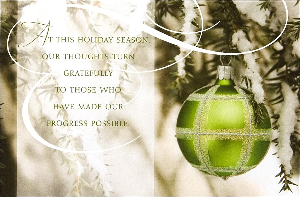 Green Ornament Appreciation Business Holiday Cards from