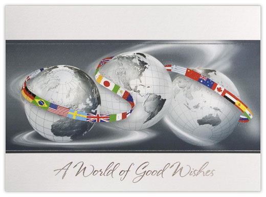 Globes with Flag Ribbon - Worlds from CardsDirect