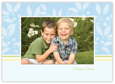 Blue Leaf Easter Photo Card