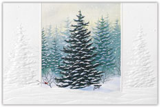 Frosted Evergreens Christmas Card