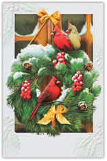 Cardinal Visitors Christmas Card