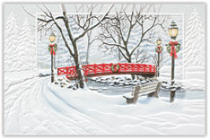 Red Bridge Crossing Christmas Card