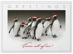 Penguins with Santa Hats
