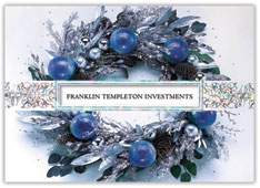 Icy Blue Wreath Christmas Card