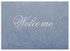 Blue Scrollwork Welcome Card
