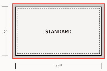 Diagram detailing the bleed, finished size, and safe area of our standard business cards