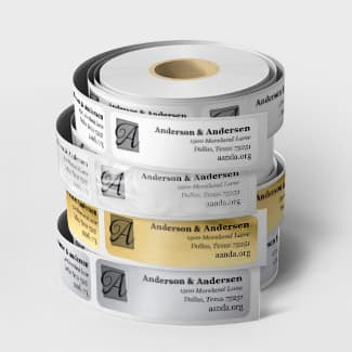 Address labels with free dispenser and foil options.