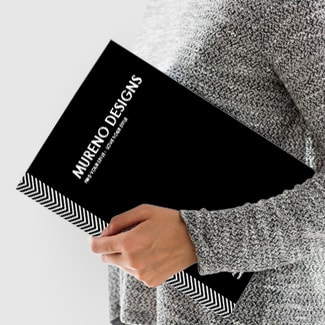 Presentation folders with multiple paper stock options.
