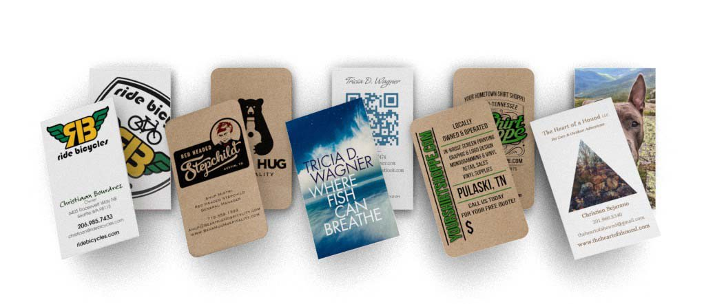 Business card showcase featuring different paper stocks.