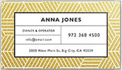 A business card with an angular blue and gold design and a minimalist font.