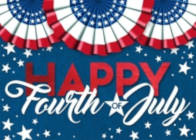 A greeting card with a red, white, and blue patriotic theme that includes three round banners and a message that reads Happy Fourth of July