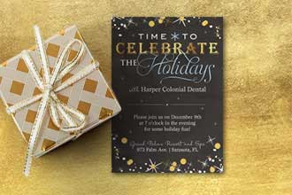 Celebrate the season with this festive invite, accented with gold and silver stars and confetti on a black chalkboard background.