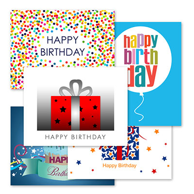 From crazy colorful circles to a modern birthday balloon, each card in this assortment is fun and festive for just the right happy birthday greeting for all of your clients, employees, friends and family members.