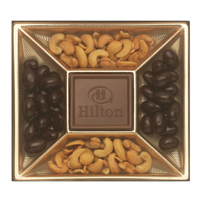 This custom chocolate gift box is available in gold and measures 7 3/4 x 7. Treats include milk chocolate, dark chocolate almonds and cashews.